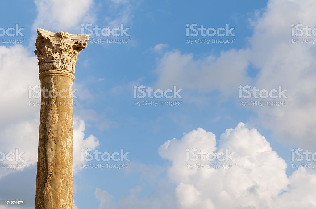 Roman column in Tyre, Lebanon royalty-free stock photo