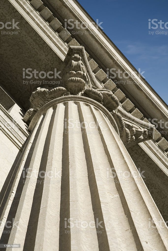 Roman Column on Wall Street stock photo