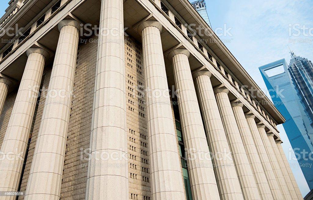 Roman columns and Shanghai landmark buildings. stock photo