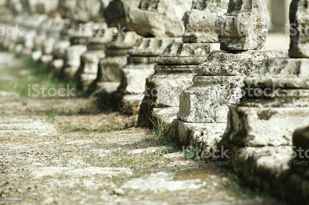 Roman columns at Ancient Olympia in Greece royalty-free stock photo