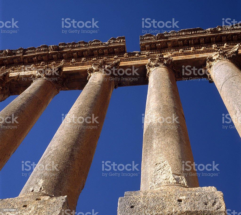 Roman columns at Heliopolis stock photo