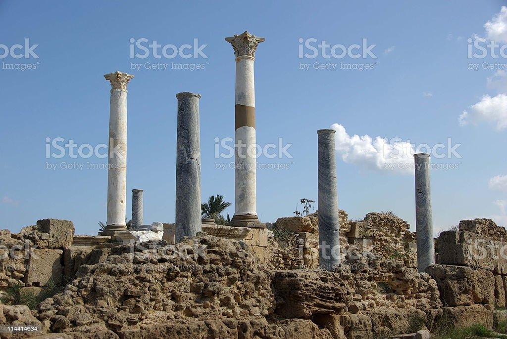 Roman columns in Libya stock photo