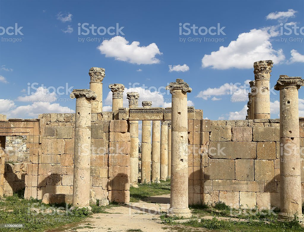 Roman Columns in the Jordanian city of Jerash, Jordan stock photo