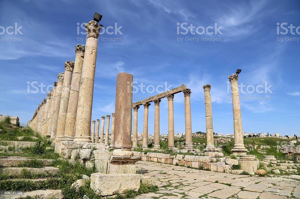 Roman Columns in the Jordanian city of Jerash (Gerasa), Jordan stock photo