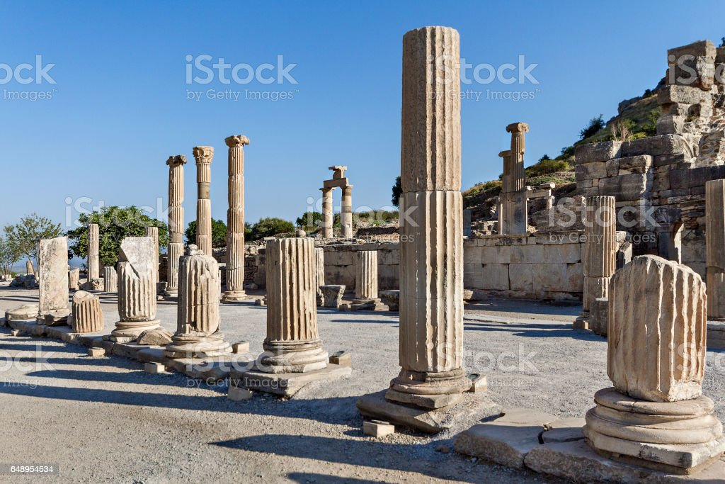 Roman columns in the ruins of Ephesus, Turkey stock photo