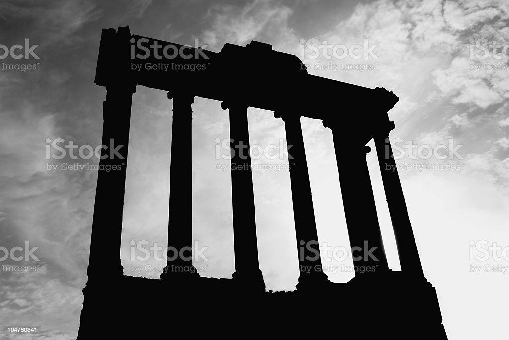 Roman Columns Silhouette royalty-free stock photo