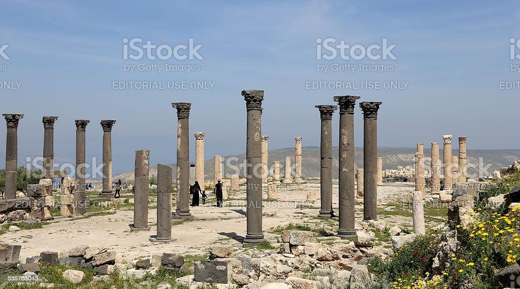 Roman Corinthian columns in Umm Qais (Umm Qays) --Jordan stock photo