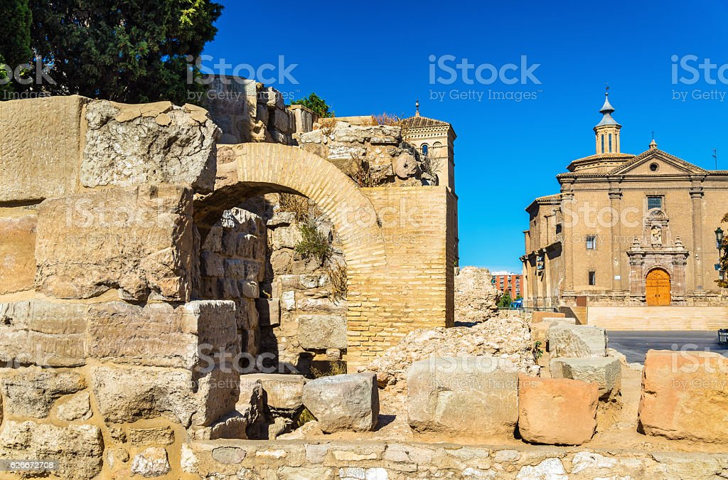 Roman defensive wall in Zaragoza, Spain stock photo