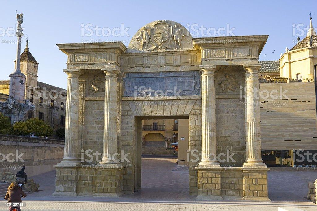 Roman door of Cordoba Bridge royalty-free stock photo