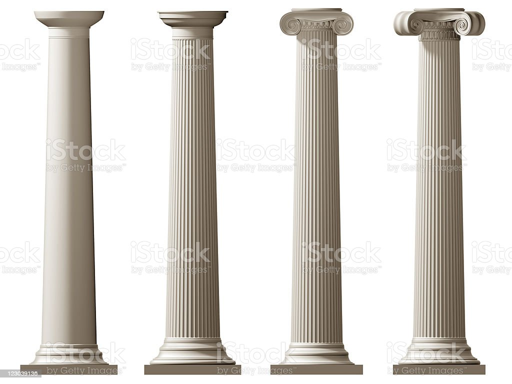 Roman Doric and Ionic columns stock photo