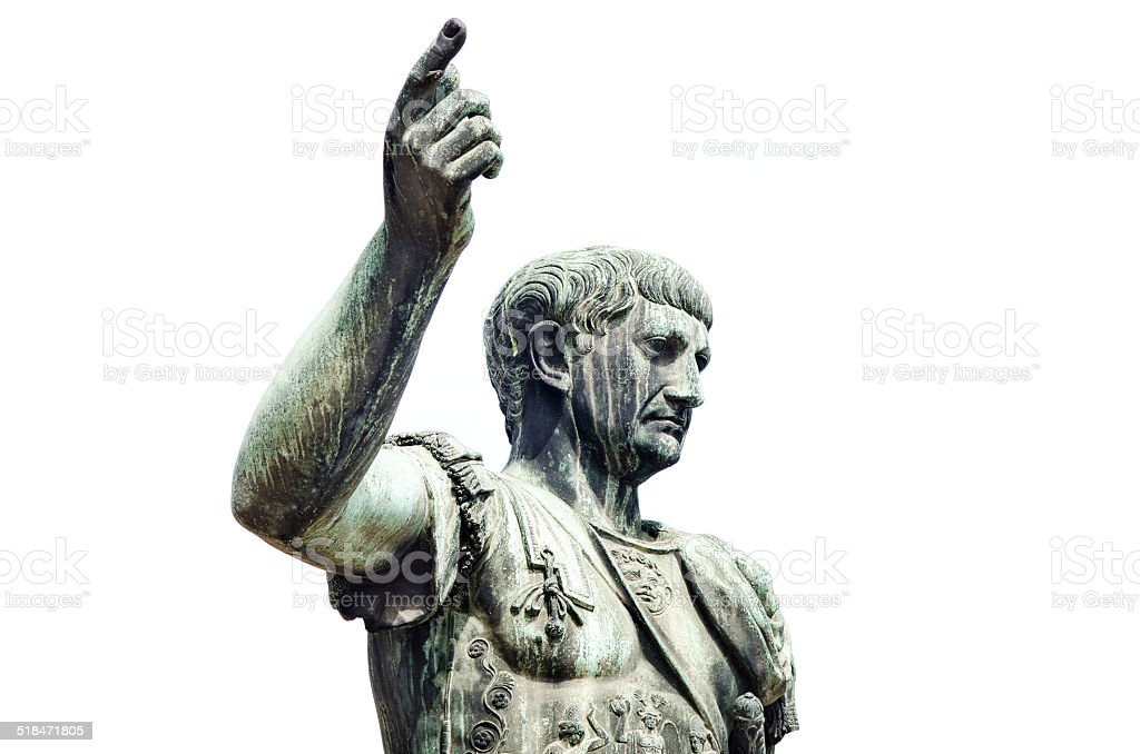Roman emperor bronze statue isolated on white stock photo