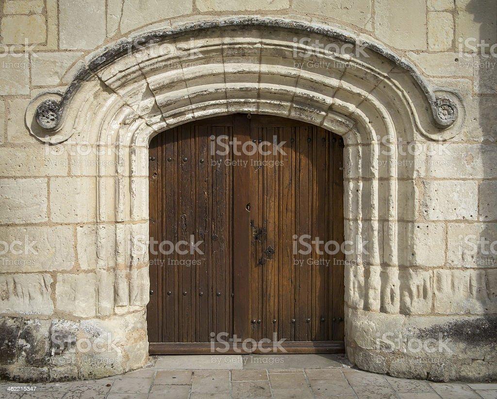 Roman entrance to a church royalty-free stock photo