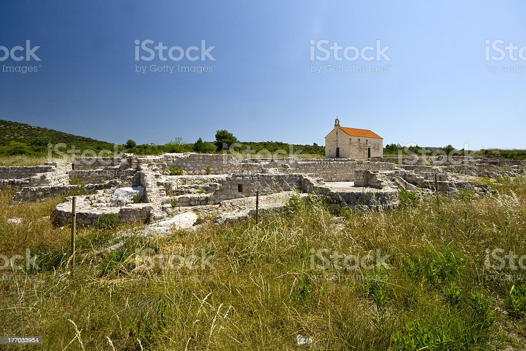 Roman finding site and St.Martin`s church stock photo