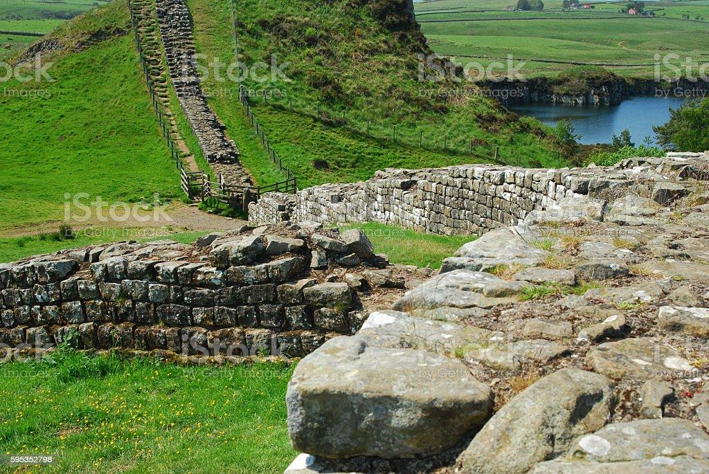 Roman fort on Hadrians Wall stock photo