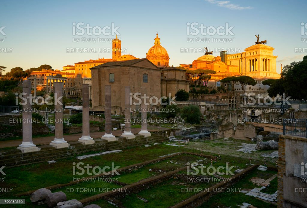 Roman Forum and Altar of the Fatherland stock photo