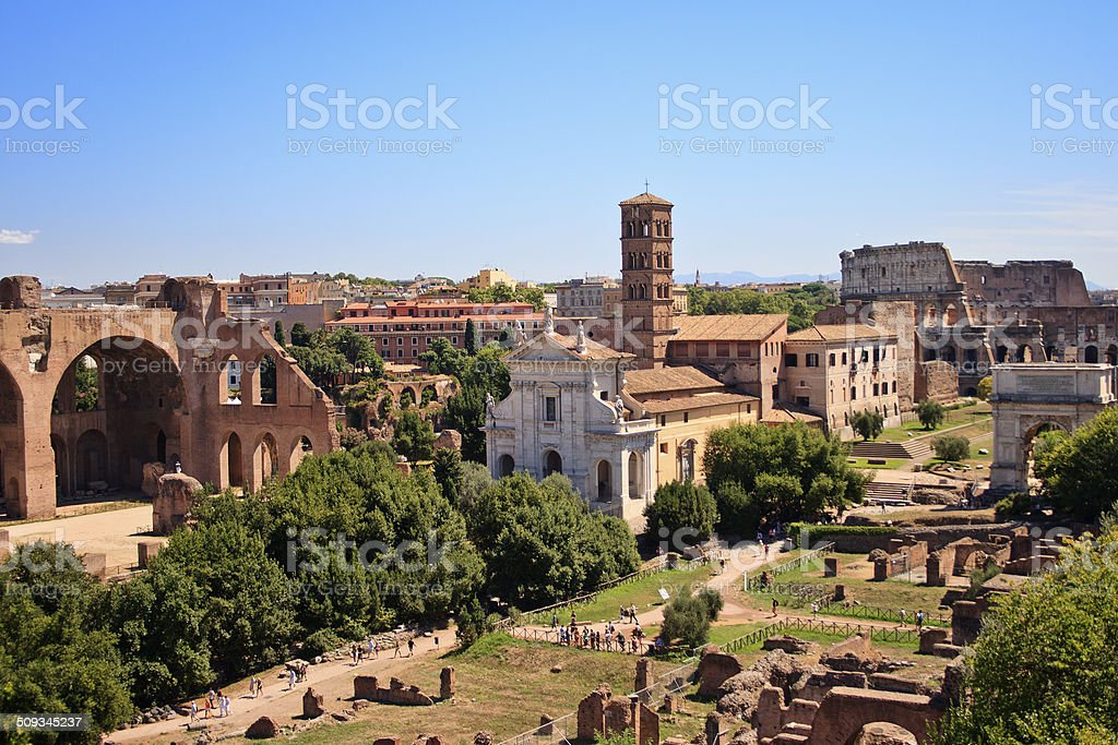 Roman Forum and Colosseum, Rome, Italy stock photo
