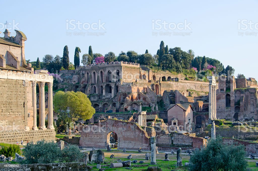 Roman Forum and Palatine Hill in Late Afternoon stock photo