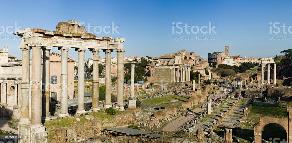 Roman Forum and Temple of Saturn in Rome Italy stock photo