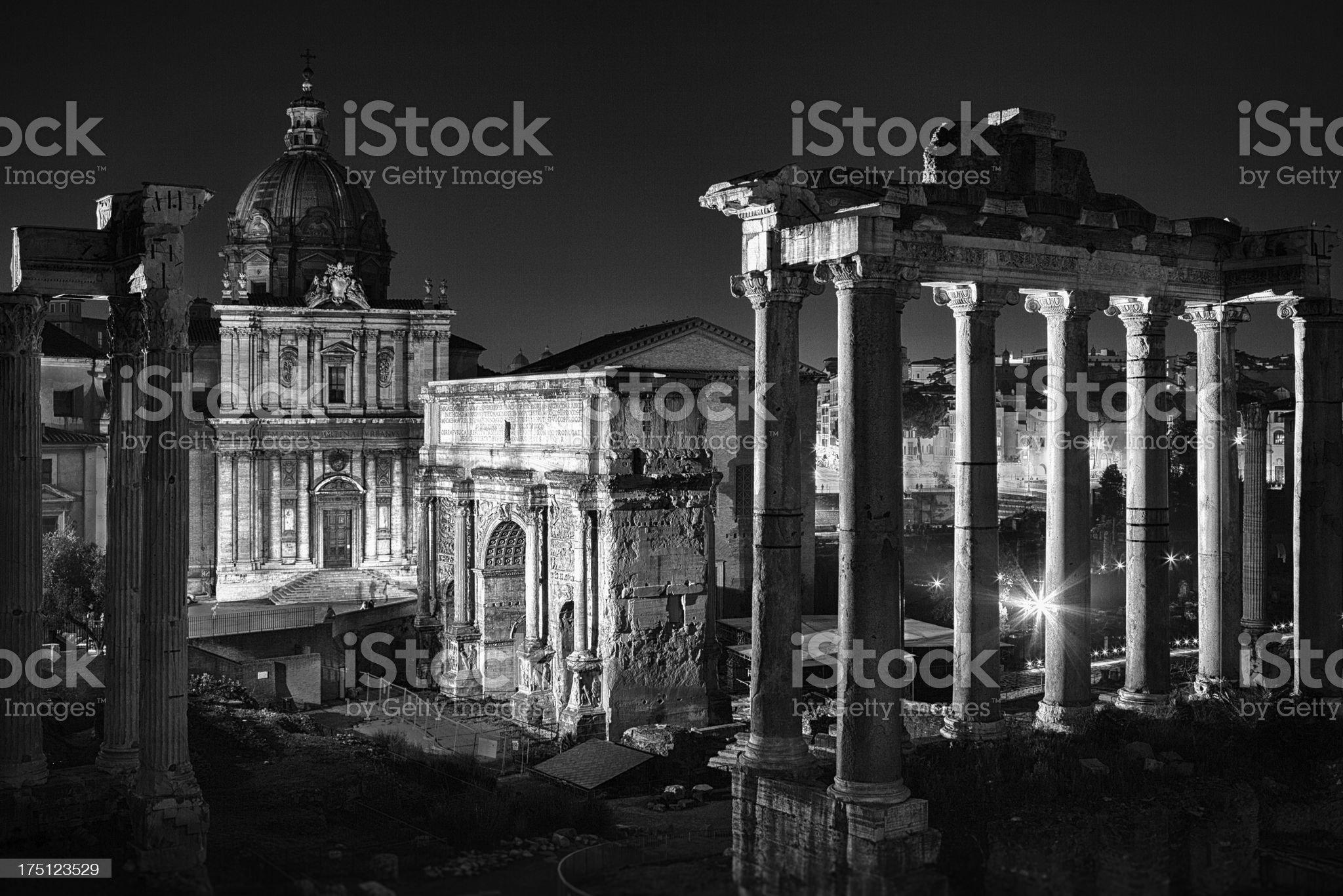 Roman Forum at night. royalty-free stock photo