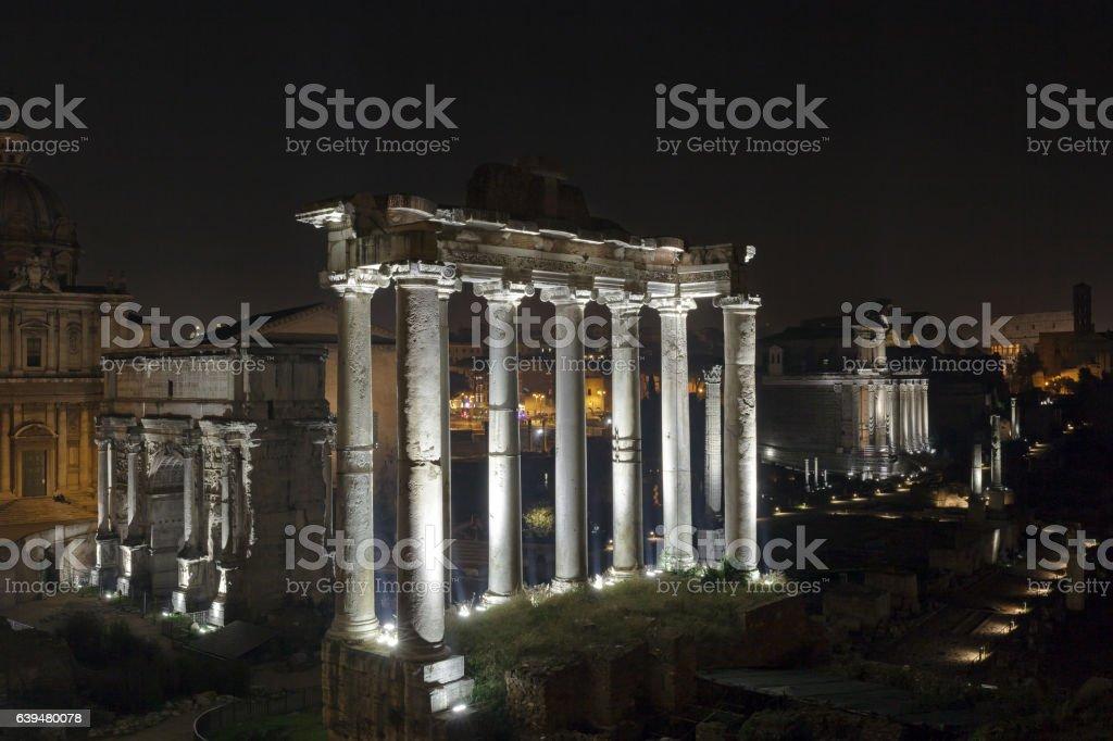 Roman Forum at night stock photo