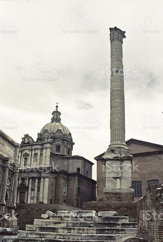 Roman forum at Rome historical city in a cloudy day stock photo