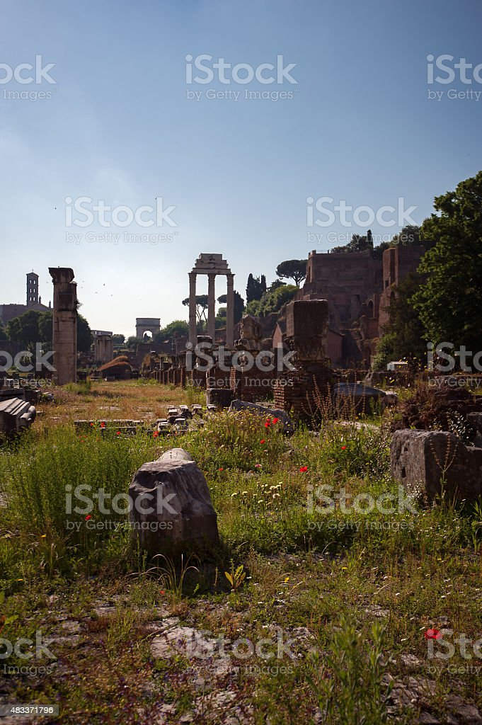 Roman Forum, Basilica Giulia remains - Rome, Italy stock photo