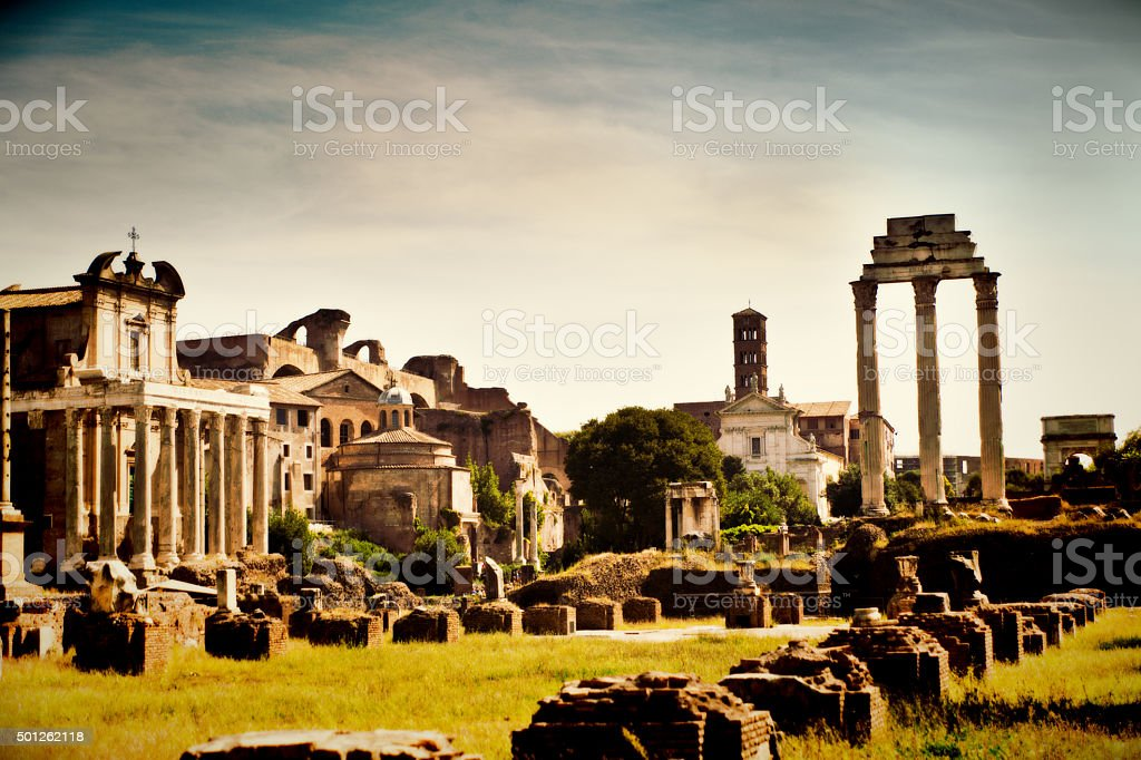 Roman Forum High Angle Scenery, Rome, Italy stock photo