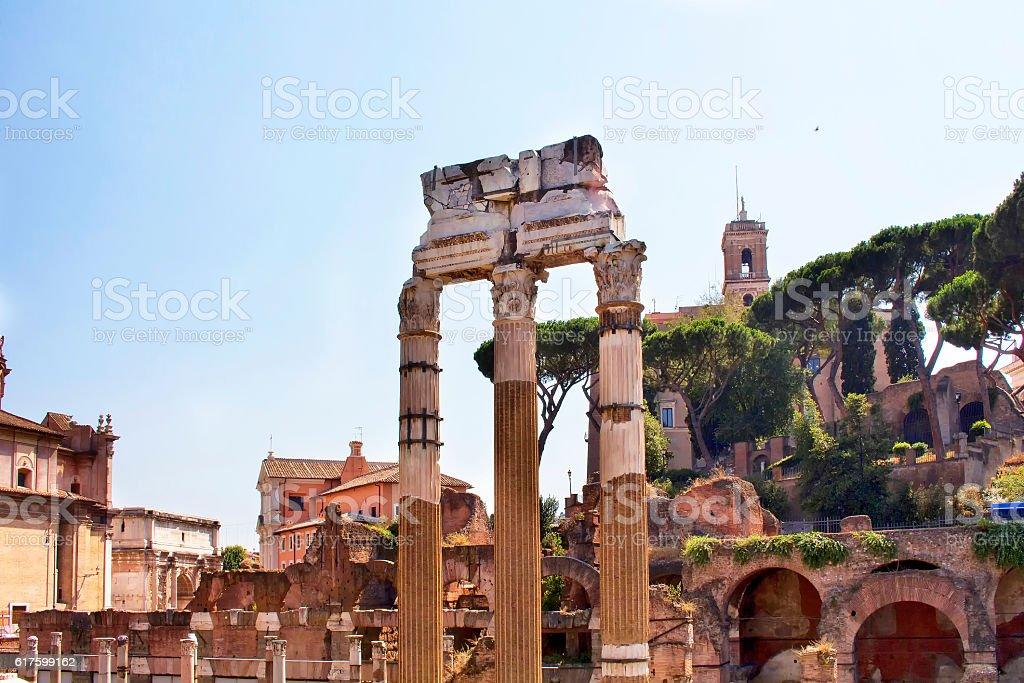 Roman Forum (Foro Romano) in Rome. stock photo