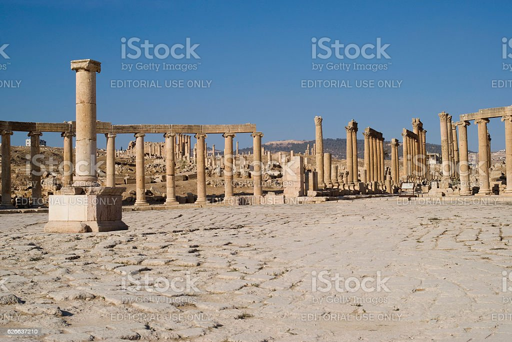 Roman Forum of Jerash, Jordan stock photo