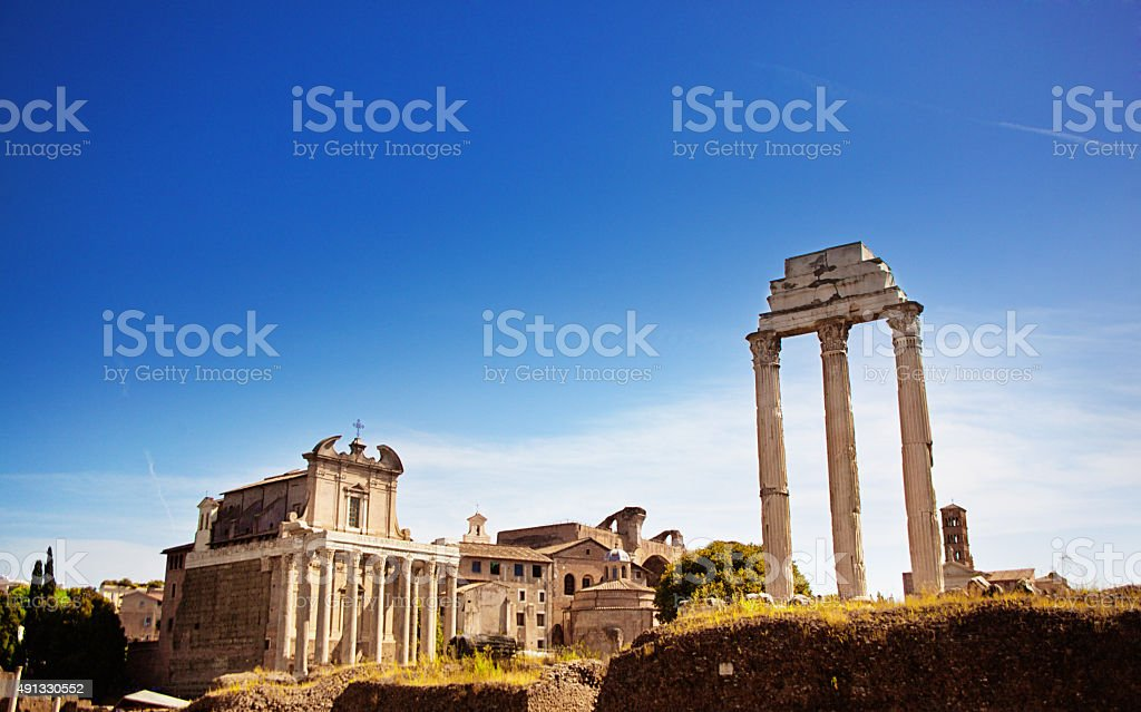 Roman Forum Temples of Antoninus and Faustina, Castor and Pollux stock photo
