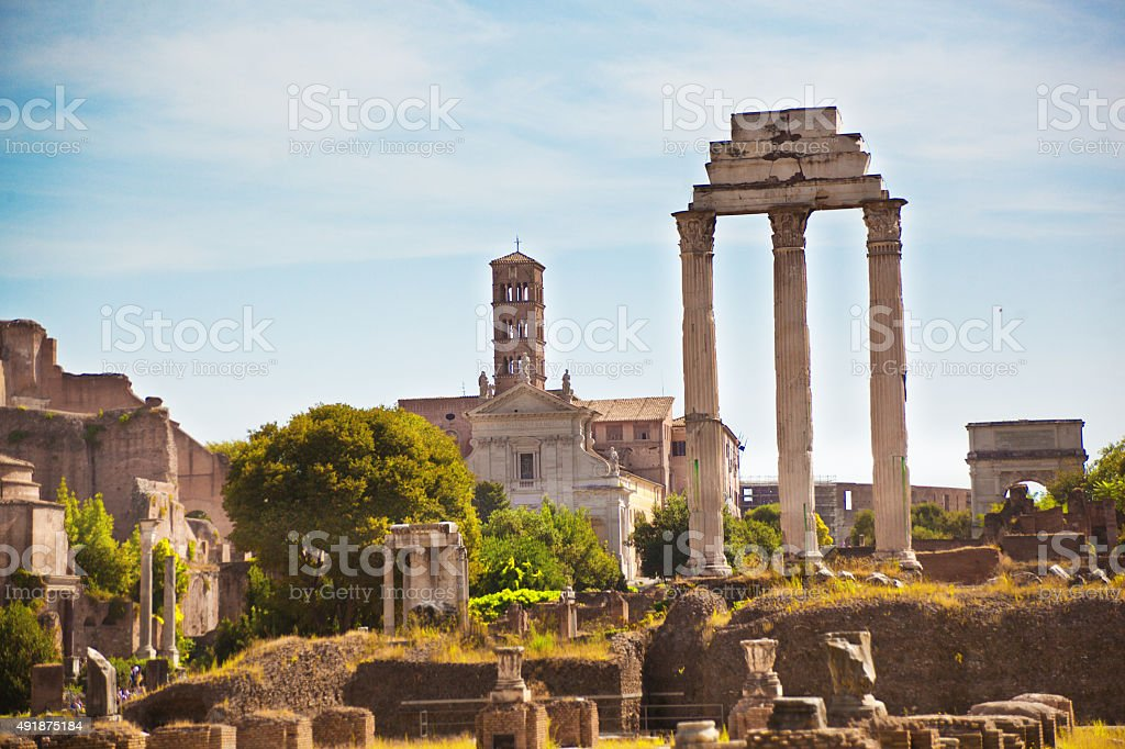 Roman Forum Temples of Castor and Pollux stock photo