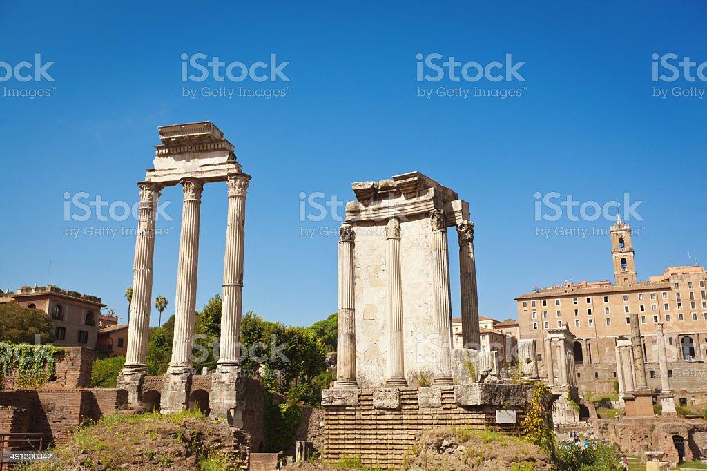 Roman Forum Temples of Castor and Pollux, Vesta, Rome, Italy stock photo