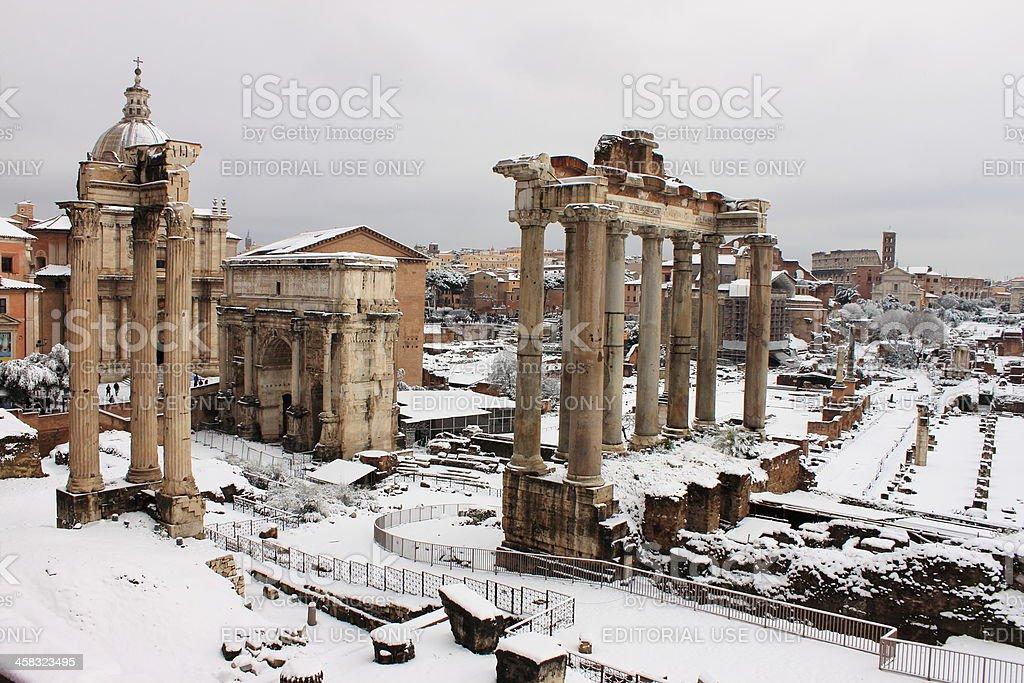 Roman Forum under snow royalty-free stock photo