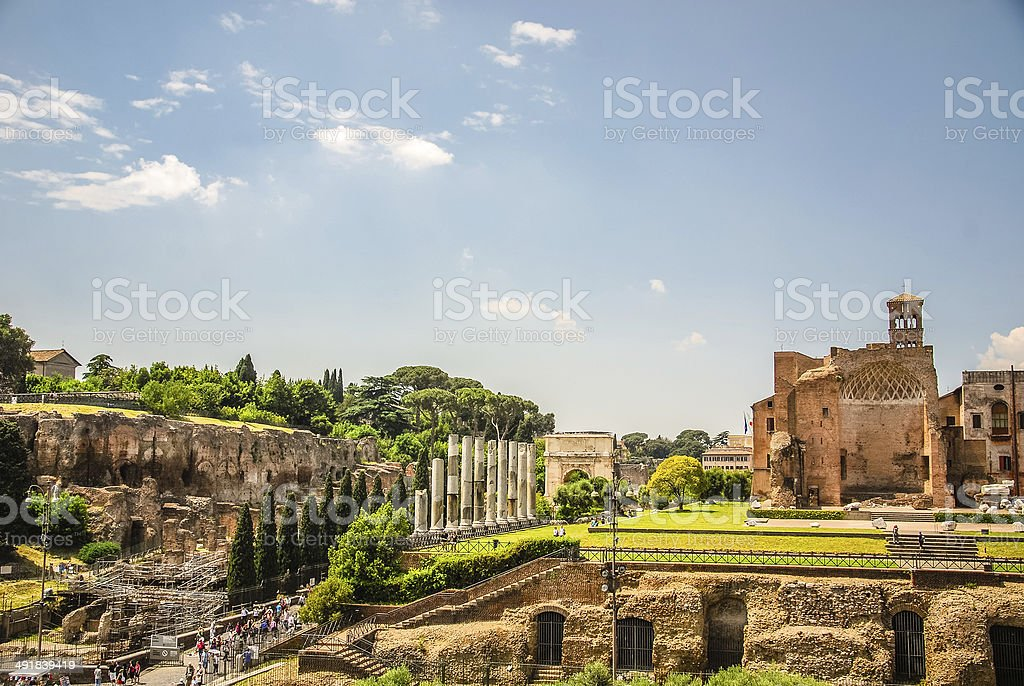 Roman Forum view from Colosseum. stock photo