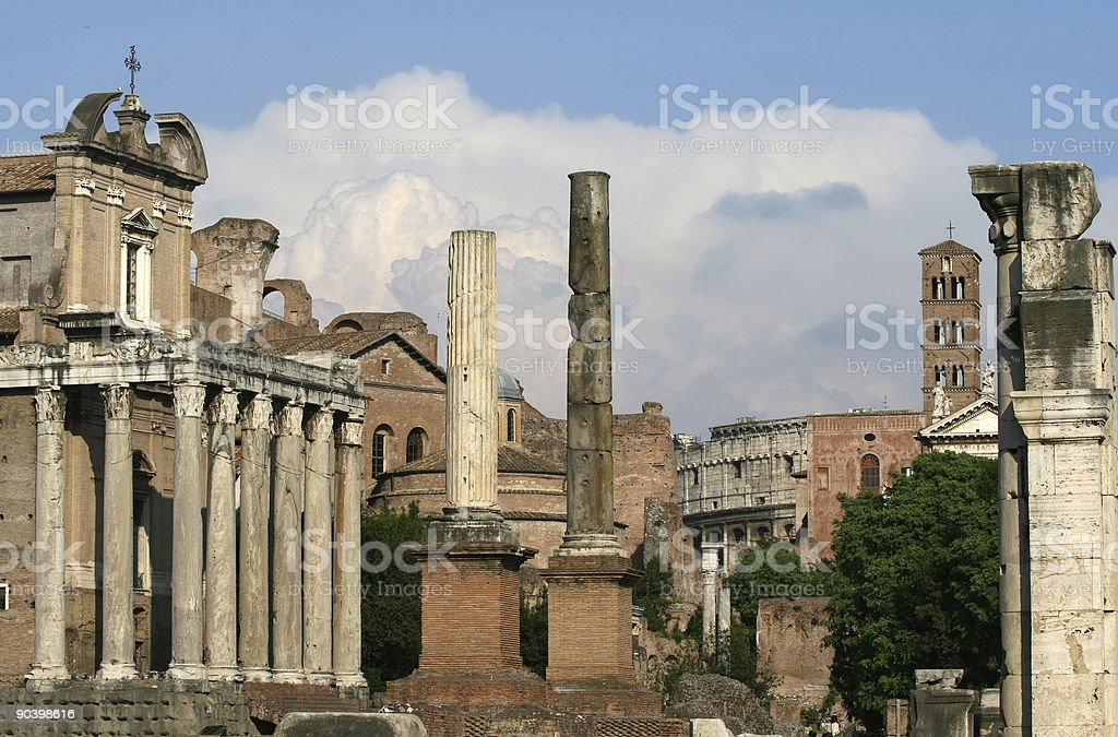 Roman Forum with dramatic sky royalty-free stock photo