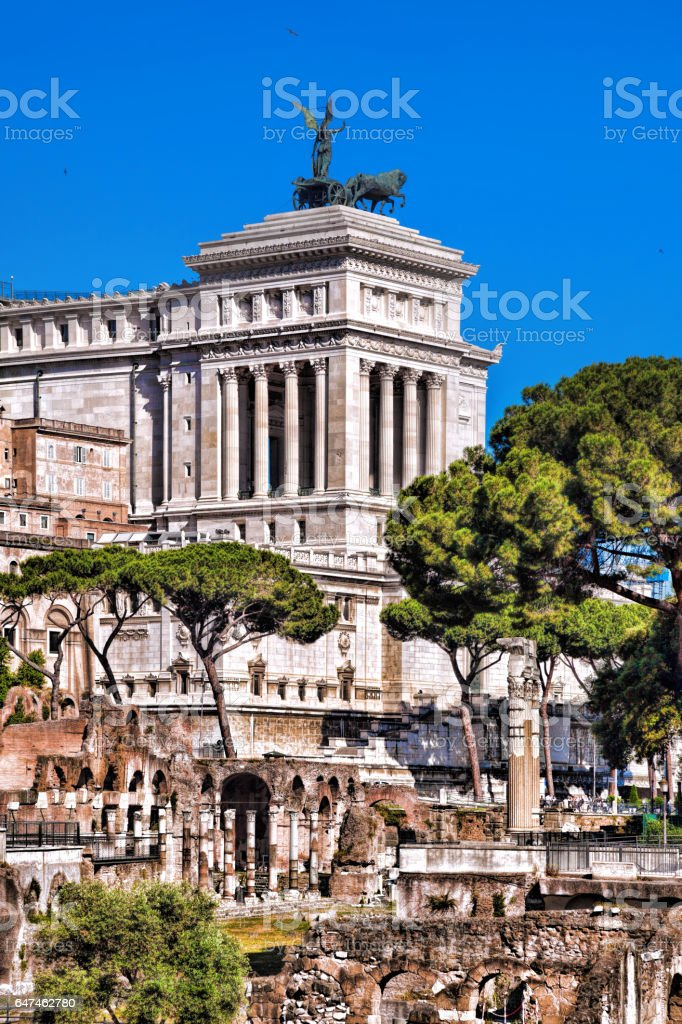 Roman Forum with National Monument of Victor Emmanuel II in Rome, Italy stock photo