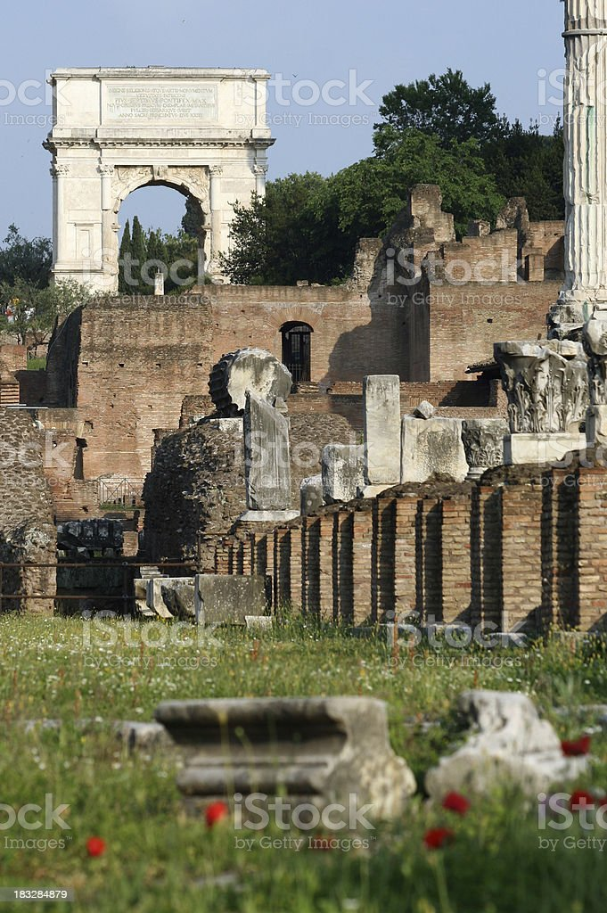 Roman Forum with the Arch of Titus, Rome Italy royalty-free stock photo