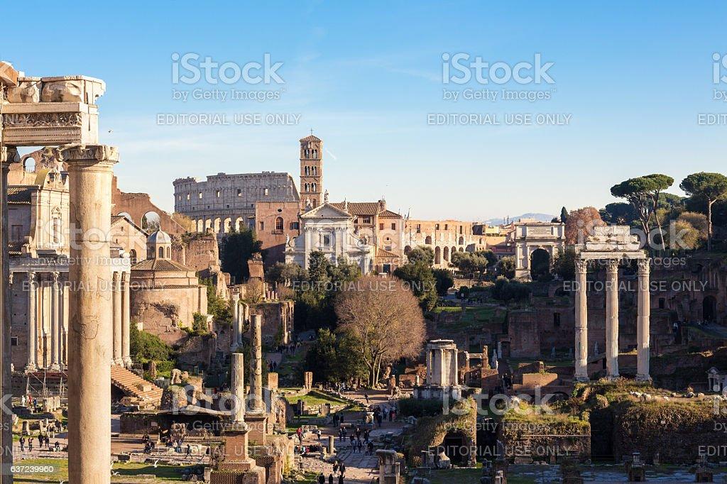 Roman Forum with tourists, Rome Italy stock photo