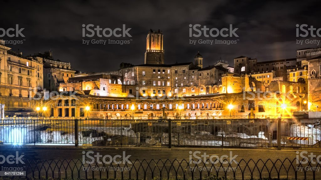 Roman forums in night stock photo