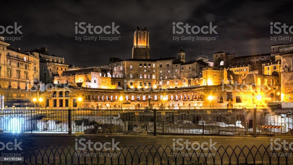 Roman forums in night stock photo