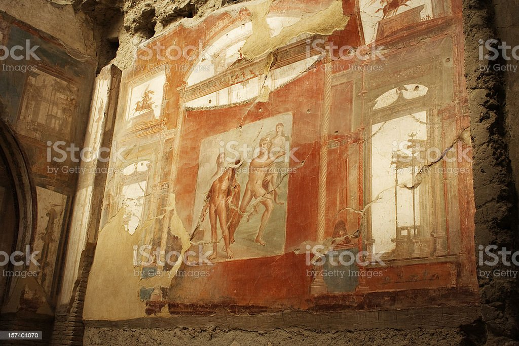 Roman fresco in Herculaneum royalty-free stock photo