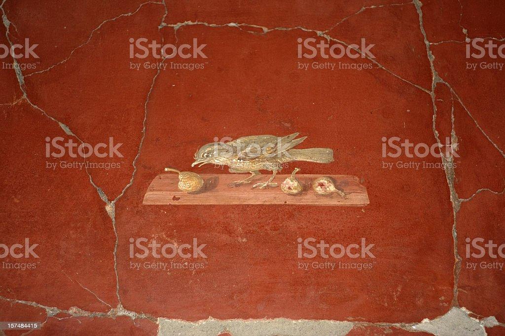 Roman fresco in Oplontis villa royalty-free stock photo
