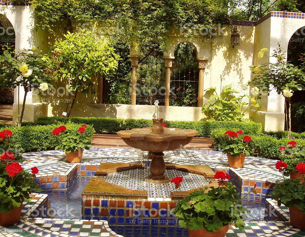 Roman Garden - Fountain stock photo