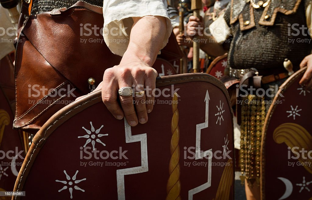Roman Gladiators and Vikings Soldiers royalty-free stock photo
