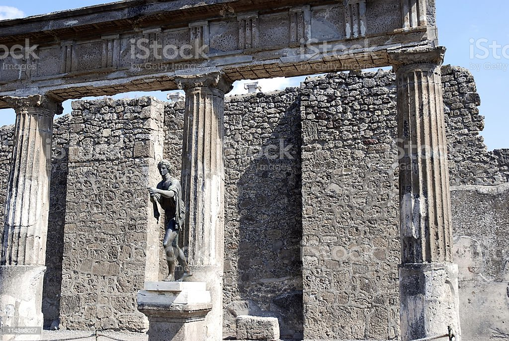 Roman God in Pompeii royalty-free stock photo