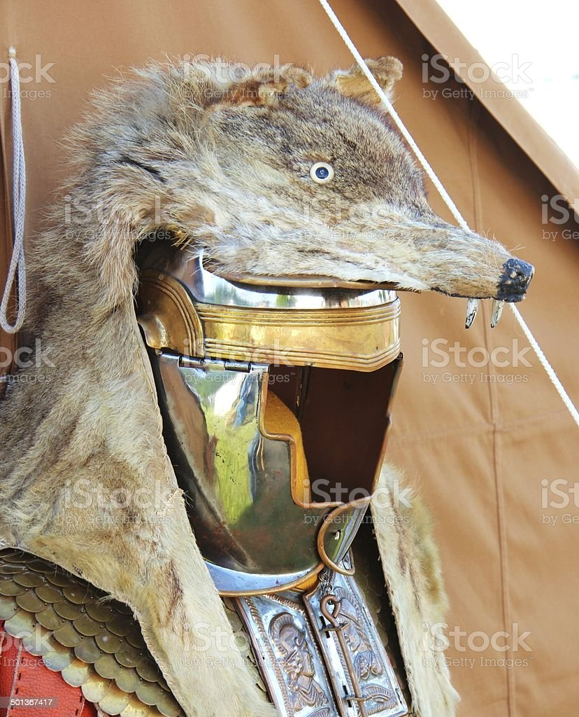 Roman Helmet with fur of a wolf stock photo