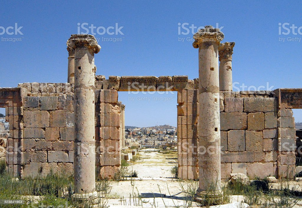 Roman Jerash and the modern city, Jordan stock photo
