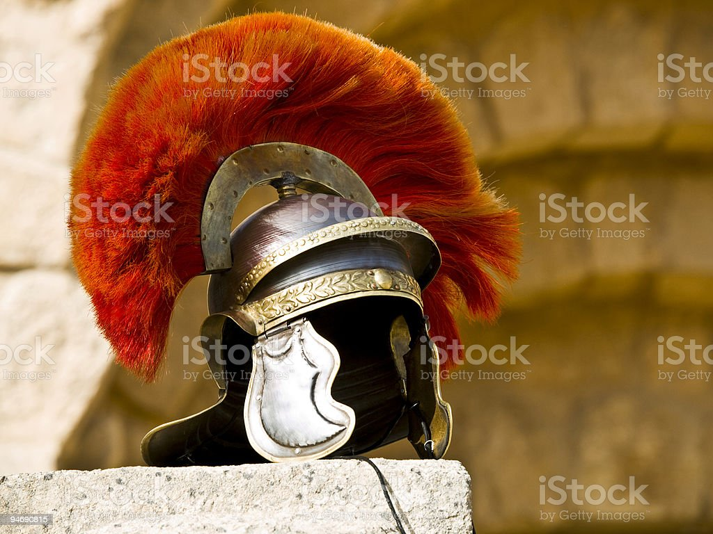Roman Legionar's helmet stock photo