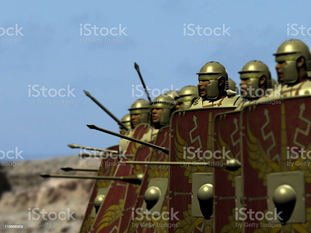 Roman legionnaires preparing for battle stock photo