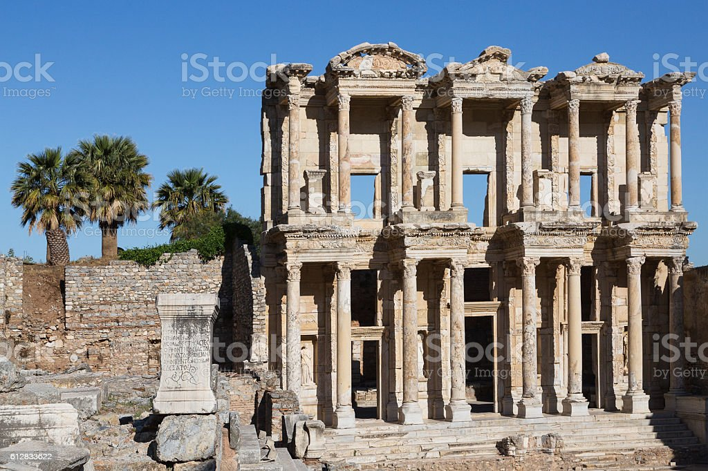 Roman Library of Celsus, Ephesus, Turkey. stock photo
